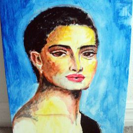 Ina Jinapaia: 'At Midnight', 2014 Acrylic Painting, Portrait. Artist Description:   A woman in deep blue background ...
