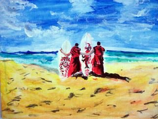Ina Jinapaia: 'Monks with Surf Boards', 2014 Acrylic Painting, Portrait.      Monks with surf boards on beach    ...