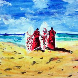 Ina Jinapaia: 'Monks with Surf Boards', 2014 Acrylic Painting, Portrait. Artist Description:      Monks with surf boards on beach    ...