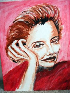 Ina Jinapaia: 'No Small Talk', 2014 Acrylic Painting, Portrait.    A woman on red background  ...