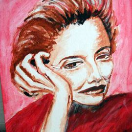 Ina Jinapaia: 'No Small Talk', 2014 Acrylic Painting, Portrait. Artist Description:    A woman on red background  ...