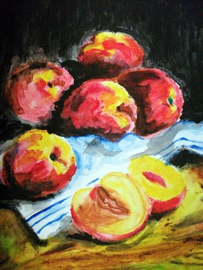 Ina Jinapaia: 'Still Life with Peaches', 2014 Acrylic Painting, Portrait.      Still life with peaches on tablecloth       ...
