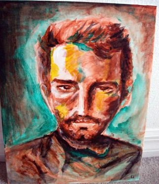 Ina Jinapaia: 'Untitled', 2014 Acrylic Painting, Portrait.     A man's portrait   ...