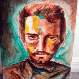 Ina Jinapaia: 'Untitled', 2014 Acrylic Painting, Portrait. Artist Description:     A man's portrait   ...