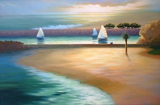 Eve Thompson Artwork sailing out newport harbor, 2015 Oil Painting, Seascape