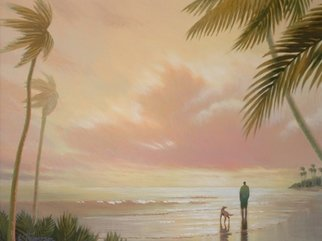 Eve Thompson Artwork tropical sunset, 2015 Oil Painting, Beach