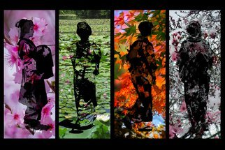 Evelyn Espinoza: 'the four seasons of japan', 2017 Digital Photograph, Seasons. I have been wanting to do something with my many photos of girls in kimono, maiko and geisha. I have collected so many stunning color palettes of the Autumn leaves from Japan, Sakura blossoms in the Spring, pine needle trees cultivated into shapes for Summer. Lily ponds and bamboo forests. ...