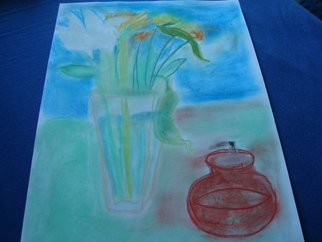 Evelyne Ketterlin Artwork Flowers and red oillamp, 2012 Pastel, Still Life