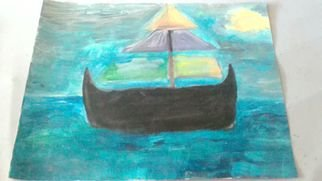 Evelyne Ketterlin Artwork Ship, 2014 Acrylic Painting, Boating