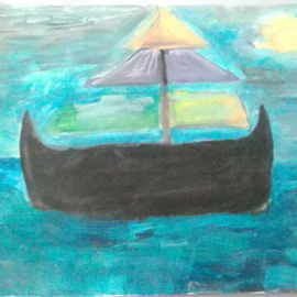 Evelyne Ketterlin: 'Ship', 2014 Acrylic Painting, Boating. Artist Description:  Ship. On paper.                  ...
