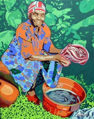 Evon Johnson: 'washerwoman', 2014 Acrylic Painting, Culture. Artist Description: This painting is a representation of how people in certain parts of the world do their laundry. ...