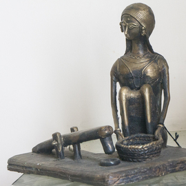 Shawan Sarkar: 'Woman and the dhenki', 2014 Other Sculpture, Figurative. Artist Description:  A very traditional scenario of a rural woman using the