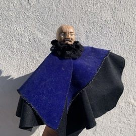 Ezgi Lemur: 'itsuki the vampire', 2020 Mixed Media Sculpture, Figurative. Artist Description: Meet Itsuki the Vampire. It is a unique finger puppet with a head carved out of wood and dressing made out of recycled fabrics. ...