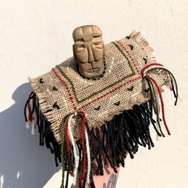 Ezgi Lemur: 'tiny shaman', 2020 Mixed Media Sculpture, Figurative. Artist Description: This is a unique finger puppet with a head carved out of wood and dressing made out of recycled materials.  It is inspired from South American shamans. ...