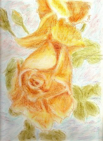 Luana Pau: 'yellow rose', 2016 Oil Pastel, Floral. Artist Description: Real hand made painted whit oil pastels...