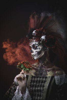 Sergii Zarev: 'santa muerte girl', 2018 Color Photograph, Portrait. Artist Description: Santa Muerte Young Girl with Artistic Halloween Makeup and with Sculls in her Hair...