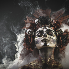 Sergii Zarev: 'santa muerte girl', 2018 Color Photograph, Culture. Artist Description: Santa Muerte Young Girl with Artistic Halloween Makeup and with Sculls in her Hair...