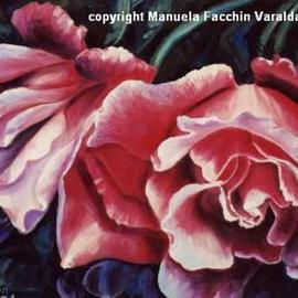 Manuela Facchin Varalda: 'Evening roses', 2001 Oil Painting, Floral. Artist Description:  original artwork unique pieceoil on faesite ...