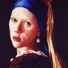 Manuela Facchin Varalda: 'Girl with a pearl earring   homage to Vermeer', 2004 Oil Painting, Portrait. Artist Description:  original artwork unique piecepainted on request, this is the portrait of the famous Hollywood star Scarlett Johanson  ...
