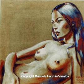 Manuela Facchin Varalda: 'Lying nude', 2003 Acrylic Painting, Nudes. Artist Description:  Orihinal artwork unique pieceacrylic on raw linen canvascm 40 x 40 16. 0 ...