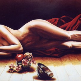 Manuela Facchin Varalda: 'Punica granatum', 2007 Oil Painting, Nudes. Artist Description:  original artwork - unique pieceoil on canvascm 120 x 70 ...