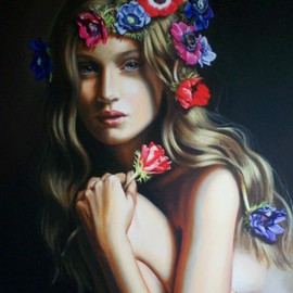 Manuela Facchin Varalda: 'Spring s muse', 2008 Oil Painting, Nudes. Artist Description:  original artwork unique piece oil on canvascm 50 x 70 ...