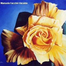 Manuela Facchin Varalda: 'The yellow rose', 2002 Oil Painting, Floral. Artist Description:  original artwork unique piece oil on canvas ...