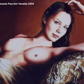 Manuela Facchin Varalda: 'the inner smile', 2006 Oil Painting, Nudes. Artist Description:  original artwork unique pieceoil on canvasprivate collection - Illinois - USA ...