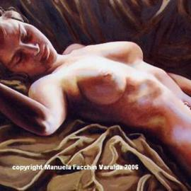 Manuela Facchin Varalda: 'the sleep', 2006 Oil Painting, Nudes. Artist Description:  original artwork unique pieceoil on canvas cm 50 x 70 ...