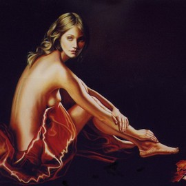 Manuela Facchin Varalda: 'the stuff of dreams', 2008 Oil Painting, Nudes. Artist Description:   original artwork - unique piece oil on canvas cm 100 x 80  ...