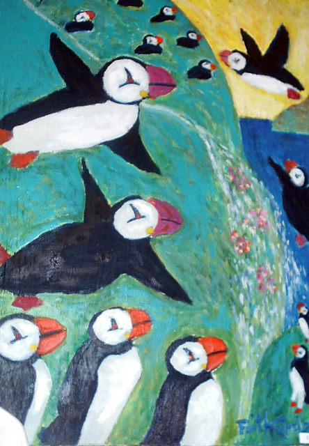 Faith Copeland  'Flying Puffins', created in 2009, Original Painting Acrylic.