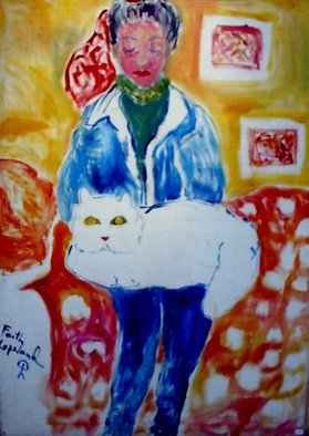 Cats Acrylic Painting by Faith Copeland Title: girl with cat, created in 2011