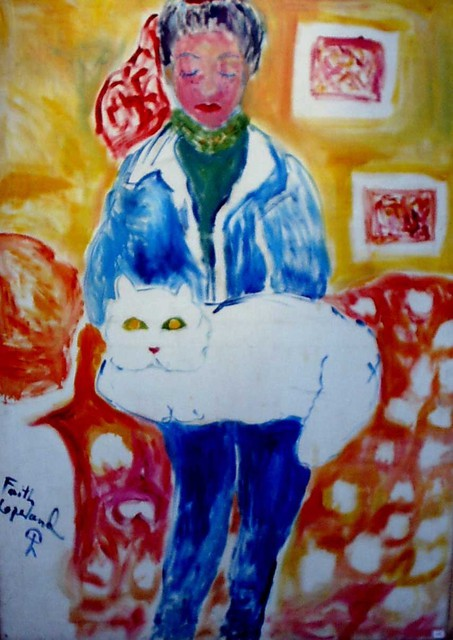Faith Copeland  'Girl With Cat', created in 2011, Original Painting Acrylic.