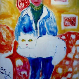 Faith Copeland Artwork girl with cat, 2011 Acrylic Painting, Cats