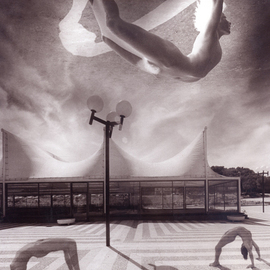 Itzhak Ben Arieh: 'GYMNASTICS', 1997 Black and White Photograph, Fantasy. Artist Description:  PHOTOMONTAGEFANTASTIC PHOTOGRAPHY ...
