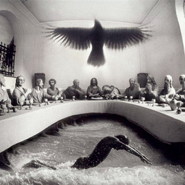 Itzhak Ben Arieh: 'SWIMMING CONTEST', 2001 Black and White Photograph, Fantasy. Artist Description:  PHOTOMONTAGEFANTASTIC PHOTOGRAPHY ...
