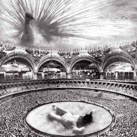 Itzhak Ben Arieh: 'THE ARENA', 1997 Black and White Photograph, Fantasy. Artist Description:  PHOTOMONTAGEFANTASTIC PHOTOGRAPHY ...