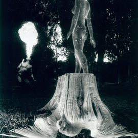 Itzhak Ben Arieh: 'THE FIRE SPITTER', 2000 Black and White Photograph, Fantasy. Artist Description:  PHOTOMONTAGEFANTASTIC PHOTOGRAPHY ...
