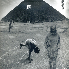Itzhak Ben Arieh: 'THE PYRAMID', 1998 Black and White Photograph, Fantasy. Artist Description:  PHOTOMONTAGEFANTASTIC PHOTOGRAPHY ...