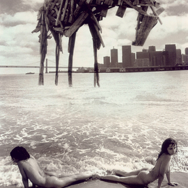 Itzhak Ben Arieh: 'THE WOODEN HORSE', 1996 Black and White Photograph, Fantasy. Artist Description:  PHOTOMONTAGEFANTASTIC PHOTOGRAPHY ...