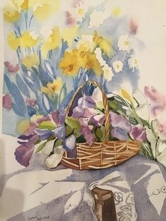 Farah Ravazadeh: 'flower basket', 2015 Watercolor, Floral. Artist Description: Flowers can feel emotions. They can feel love. They can feel pain. My flowers are my friends. Watercolor painting no frame. ...