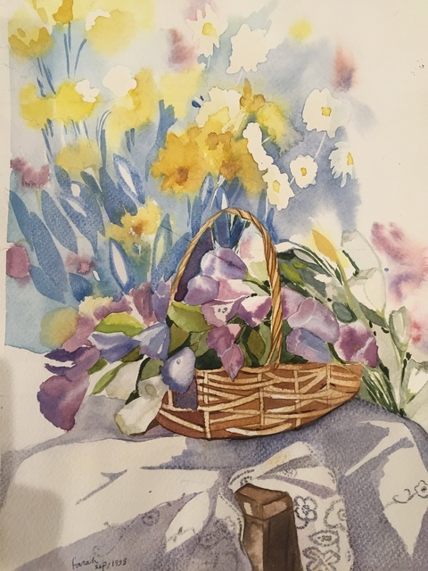 Farah Ravazadeh  'Flower Basket', created in 2015, Original Watercolor.