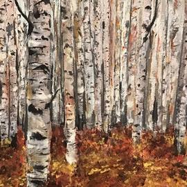Farah Ravazadeh: 'october', 2016 Oil Painting, Trees. Artist Description: Autumn has always been my favorite season. The time when everything bursts with it s last beauty, as if nature had been saving up all year for the grand finale. 3- sided Oil painting. Collage ...