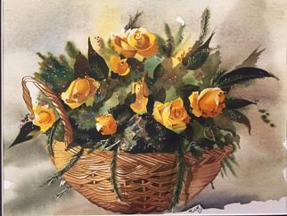 Farah Ravazadeh: 'yellow roses', 2014 Watercolor, Floral. Artist Description: Flowers can feel emotions. They can feel love. They can feel pain. My flowers are my friends. Watercolor paintingno frame . ...
