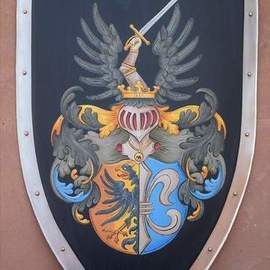 Gerhard Mounet Lipp: 'Coat of Arml knight shield family crest', 2018 Acrylic Painting, Home. Artist Description: Lg.  four point steel knight shield - exclusive hand crafted hand painted medieval knight shield, steel kite shield with gold leaf painted rivets aEUR