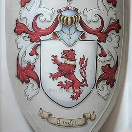 Gerhard Mounet Lipp: 'Coat of Arms knight shield', 2019 Acrylic Painting, Home. Artist Description: Family crest wooden knight shield - exclusive hand crafted hand painted w.  your family crest.  Medieval knight shield, has leather arm strap- handle.  This 3 point medieval shield measures 19 x 28 inches.  Each shield is custom hand painted with attention to details to assure a high quality heraldic ...