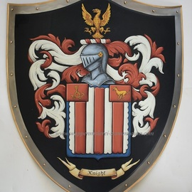 Gerhard Mounet Lipp: 'Coat of Arms metal knight shield', 2019 Acrylic Painting, Home. Artist Description: Your family crest medieval knight shield.  This knight shield is constructed of 18 gauge steel and measures 19 x 24 inch.  Back has handle or chain.For a high quality heraldic artwork each shield is hand painted with attention to detailsBattle shield - Shield can be used for ...
