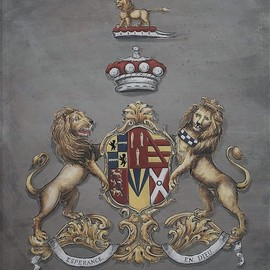 Gerhard Mounet Lipp: 'Coat of Arms painting on leather', 2018 Acrylic Painting, Home. Artist Description: Coat of Arms painting with shield supporters.  Every family crest is individually designed, with intricate details, personalized to reflect your family history.  Our featured family crest is 20 x 24 inch in size and hand painted on soft leatherLarger or smaller sizes are available on request.  Every ...