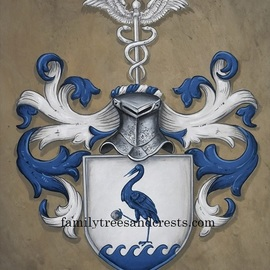 Gerhard Mounet Lipp: 'Coat of arms painting leather', 2018 Acrylic Painting, Home. Artist Description:  Coat of Arms Family Crest Painting- Each family crest is individually designed, with intricate details, personalized to reflect your family history.  Our featured crest is 16 x 20 inch in size and painted on leather.Larger or smaller sizes are available on request.  Every coat of arms and ...