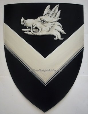 Gerhard Mounet Lipp: 'Coat of arms shield knight shield', 2019 Acrylic Painting, Home. Coat of Arms shield - arms only.  Four point steel knight shield - exclusive hand crafted hand painted medieval knight shield shield comes with chain for hanging.  This 4 point medieval shield measures 19 x 24 inches Each shield is custom hand painted with attention to details to assure a high quality ...